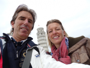 Arjan and Irene at the tower of Pisa