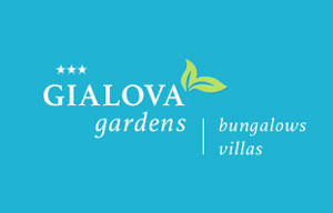 the light blue logo of Gialova Gardens